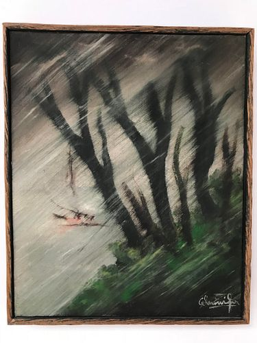"""Illegibly Signed Mid-Century """"Storm"""" Oil on Canvas"""
