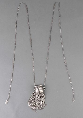 Metal Fringed Amulet Pouch Necklace
