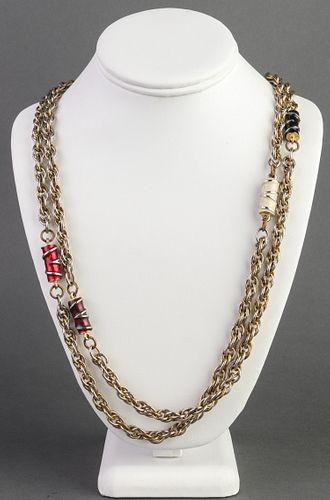 Silver-Tone Chain & Enamel Link Necklace