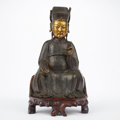 Chinese Ming Gilt Bronze Scholar w/ Sychee