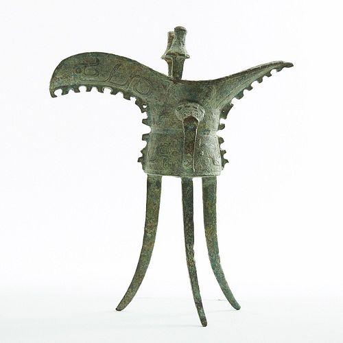 Chinese Archaic Bronze Tripod Jue Vessel