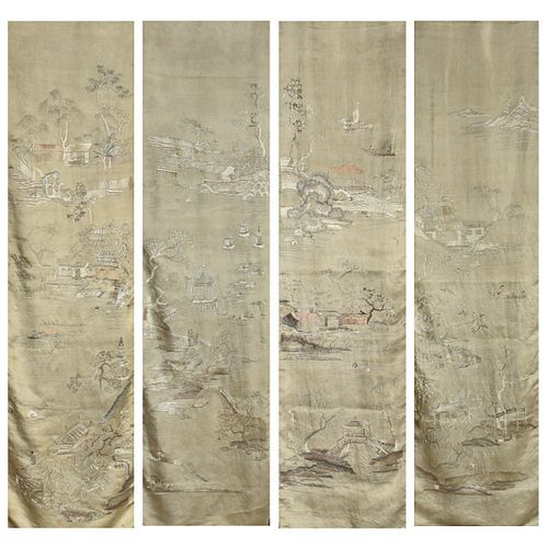 Set: 4 Lrg Chinese Silk Panel Wall Hangings