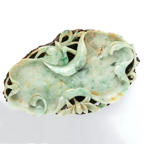 Lrg 18th c. Chinese Green / White Jade Brush Washer w/ Stand