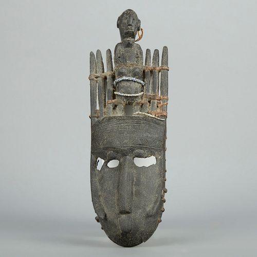 Bambara Bamana African Mask with Figure