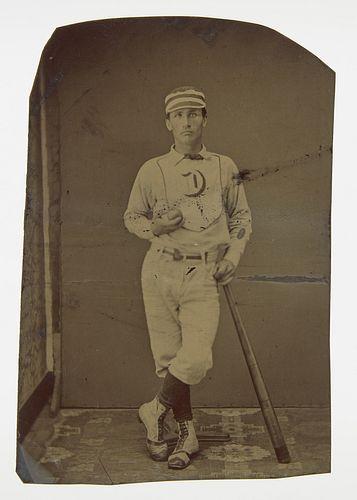 Tintype of Baseball Player in Uniform
