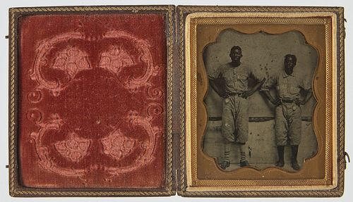 Tintype of 2 Afro American Baseball Players