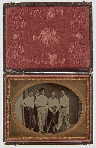 Tintype of 4 Baseball Players