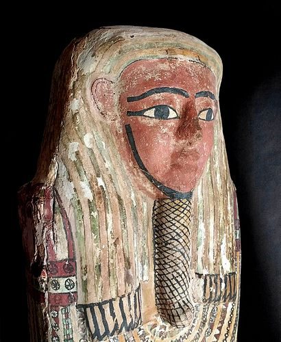 Egyptian Polychrome Gesso Coffin Lid - 1946 Provenance