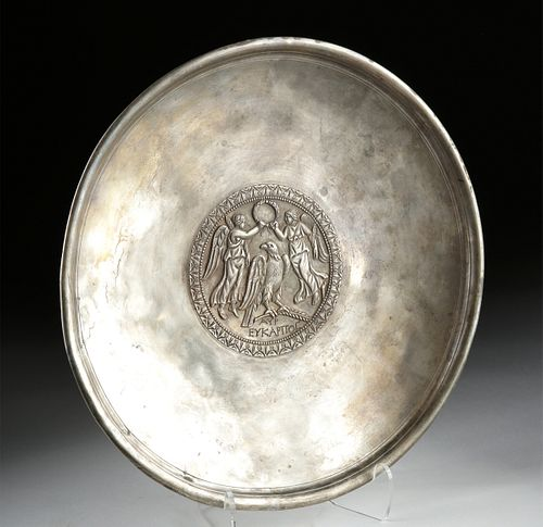 Published Roman Silver Plate w/ 2 Nikes Crowning Eagle