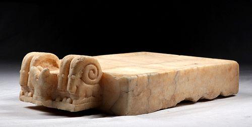 Huge South Arabian Alabaster Libation Table Bull, Ibex