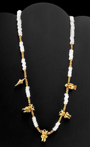 Colombian / Panamanian Necklace 18K+ Gold & Quartz