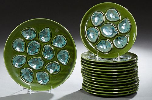 Fifteen Piece French Ceramic Hand Painted Oyster Set, 20th c