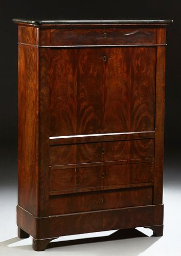 French Louis Philippe Carved Mahogany Marble Top Secretary Abattant, 19th c., the rounded edge and corner figured black marble over...