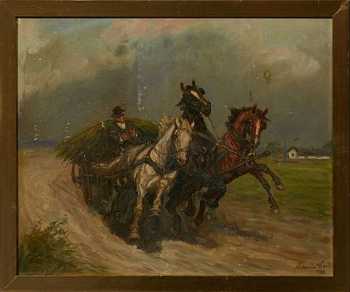 """Polish School, """"Horses and the Hay Wagon,"""" 1988, oil on canvas, signed indistinctly lower right, presented in a gilt frame, H.- 19 i..."""
