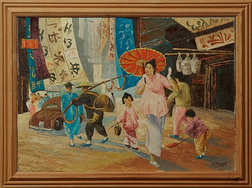 "G. J. Bassani, ""Oriental Scene,"" 20th c., signed lower right, presented in an infinished pine frame, H.- 19 1/2 in., W.- 27 3/4 in."