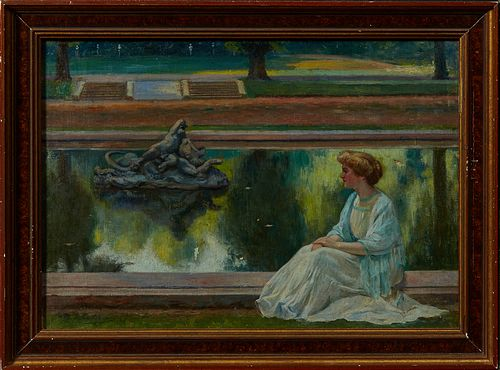 """Maurice Jean Lefebvre (1873-1954, Belgian), """"Young Woman by a Park Fountain,"""" 1901, oil on canvas, signed and dated"""