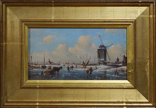 "Cornelis Pieter Hoen (1814-1880, Dutch), ""Dutch Winter Scene,"" late 19th c., oil on panel, signed lower right, presented in a wide g..."