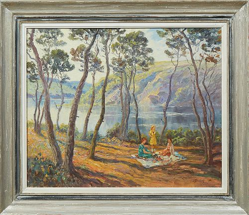 """Hans Strobel (1913-1974), """"The Picnic,"""" early 20th c., oil on canvas, signed lower right, presented in a polychromed frame, H.- 19 1..."""