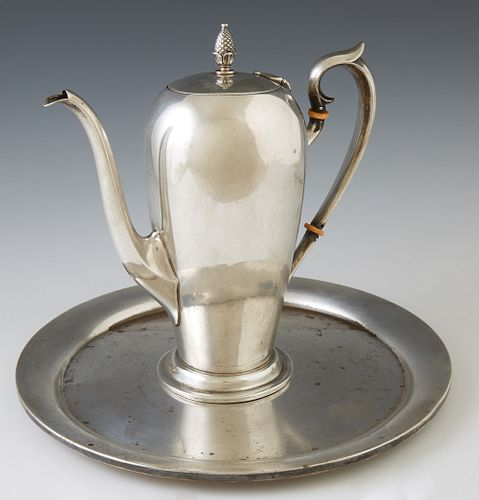 Two Sterling Silver Pieces by Watrous, Massachusetts, consisting of a chocolate pot, # B33 1/2; and a circular waiter, # A601, Choco...