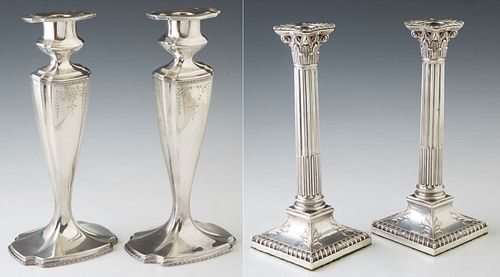 Group of Four Candlesticks; consisting of a pair of Chippendale style silver plated candlesticks, c. 1914, on lobed bases, by S. Sha...