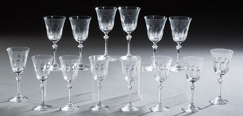 Fourteen French Crystal Wine Glasses, 20th c