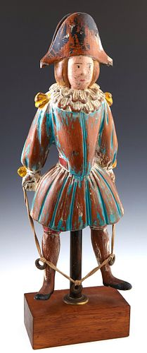 Continental Polychromed Carved Wooden Figure of a Medieval Man Jumping Rope, 20th c., presented on a mahogany stand, H.- 20 1/2 in.,...