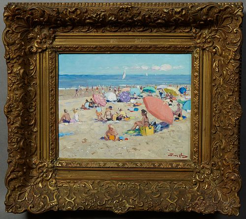 """Niek van der Plas (1954- , Dutch), """"A Day at the Beach,"""" 20th c., oil on panel, presented in an ornate gilt and gesso frame, H.- 9 1..."""