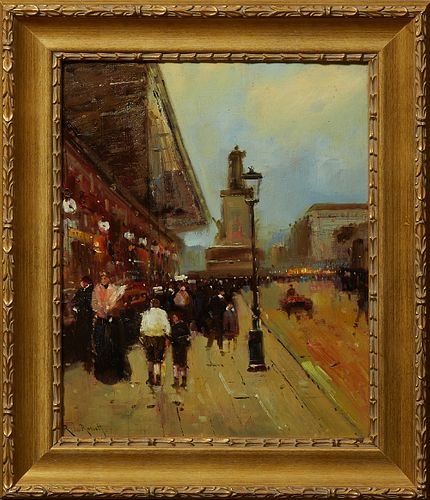 """Roberto Le Rosset, """"Paris Street Scene,"""" 20th c., oil on board, signed lower left, presented in a gilt and gesso frame, H.- 20 3/8 i..."""