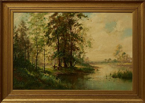 """Frank Richards (1863-1935, British), """"Figures in a Landscape,"""" 19th c., oil on canvas, signed lower left, presented in a wide gilt f..."""