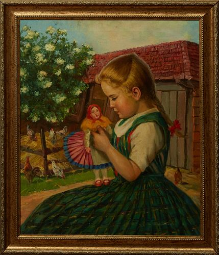 """Ernest de Nagy (1882-1952, American), """"Child with Her Doll,"""" early 20th c., signed lower left, presented in a gilt and gesso frame w..."""