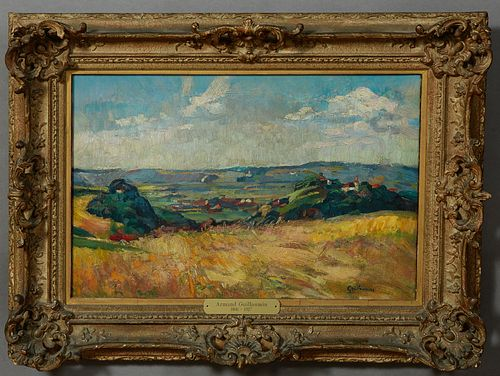 "Jean-Baptiste Armand Guillaumin (1841-1927, French), ""Coastal Landscape,"" early 20th c., oil on canvas, signed lower right, presente..."