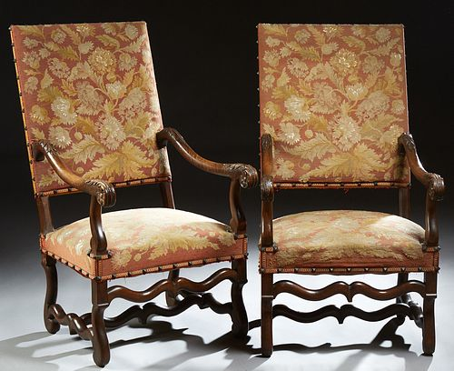 Pair of French Louis XIII Style Upholstered Fauteuils, 19th c