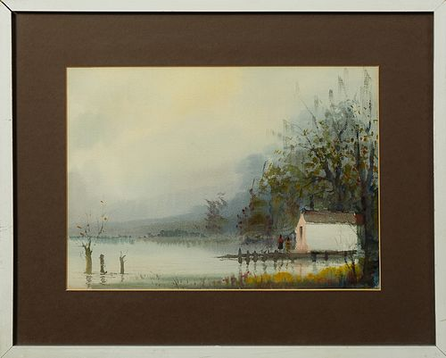 "Nestor Hippolyte Fruge (1916-2012, New Orleans), ""Swamp Scene with Cabin,"" 20th c., watercolor, signed lower right, presented in a s..."