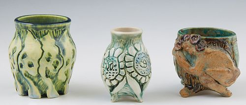 """Jo Ann Greenberg (1928-2013, New Orleans), """"Baluster Vases,"""" 20th c., three polychromed relief decrated pottery vases, each signed o..."""