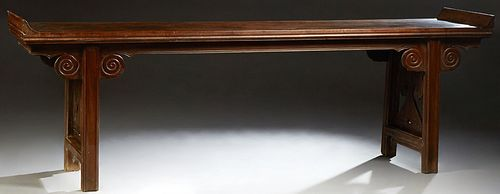 Large Chinese Ming Dynasty Carved Elm Altar Table,