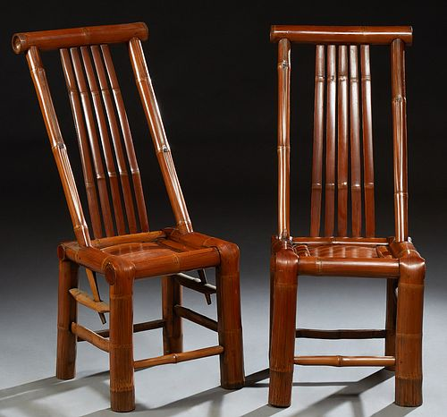 Pair of Chinese Bamboo Side Chairs, 20th c