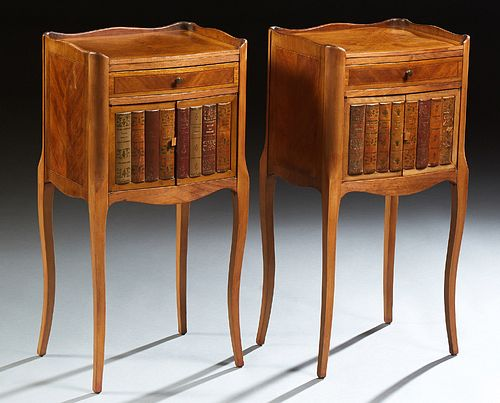 Pair of Louis XV Style Inlaid Carved Walnut Nightstands, late 19th c., the serpentine three quarter galleried top above a single dra...