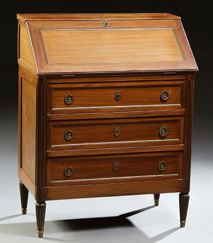 French Louis XVI Style Slant Front Desk, early 20th c., the 3/4 galleried top over a slant front with an inset green gilt tooled lea...