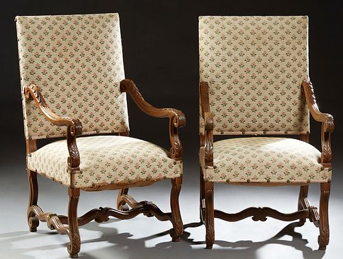 Pair of French Louis XIII Style Carved Walnut Fauteuils, early 20th c