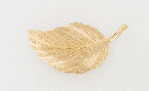 14K Yellow Gold Tiffany & Co. Leaf Brooch, c. 1950, marked Germany, now lacking its pin, H.- 1 1/4 in., W.- 2 in., D.- 1/2 in. Wt.-...