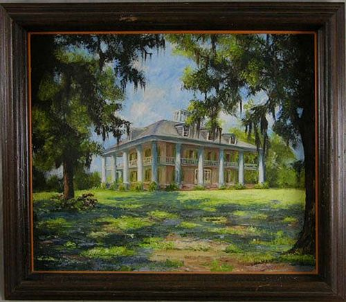 "Lydia Diemont, ""Houmas House Plantation,"" 20th c., oil on canvas, signed l.r., framed, H.- 21 in., W.- 25 in."