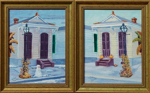 "Martin Wohlgemuth (New Orleans), ""Shotgun French Quarter Singles,"" 20th c., one in October, the other in snow, signed lower left, pr..."