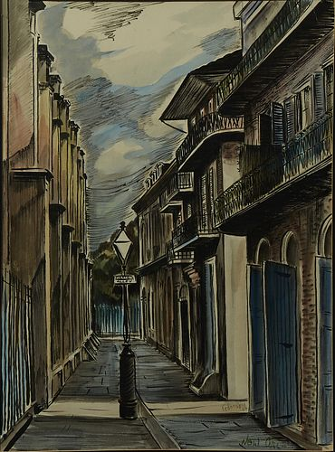 """Alexander Adam Fedorsky (New Orleans), """"Pirates' Alley,"""" 1956, watercolor, signed and dated lower right and placed """"New Orleans,"""" ma..."""