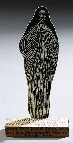 """Howard Finster (1916-2001, Alabama), """"The Virgin Mary,"""" 1989, wood sculpture, the base with a religious inscription, dated verso, H...."""