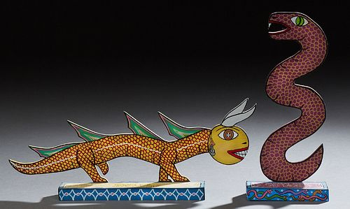 "Michael Finster (1969-), ""Zoobareiia Beast,"" and ""Demaray Serpent,"" 1989, two painted wood sculptures, signed dated, and titled on t..."