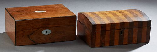 Two English Boxes, late 19th c., one domed mahogany example with rosewood parquetry inlay; the second of rosewood with mother-of-pea...