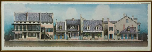 """Jim Blanchard (1955-, New Orleans), """"Creole Townhouses,"""" 20th c., colored print, pencil signed lower right margin, presented in a gi..."""
