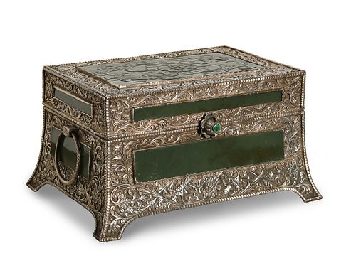 Mughal-Style Silver Box with Jade Panels