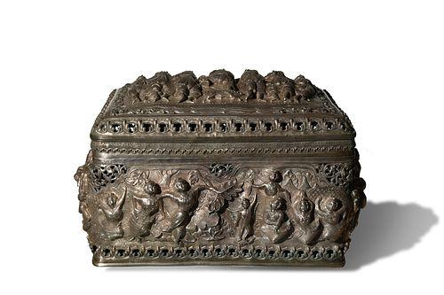 Large Burmese or Thai Silver Repousse Box