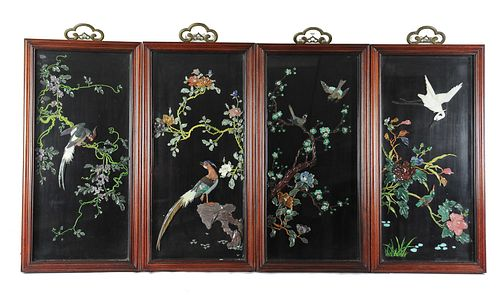 4 Panels Inlaid with Jade Birds and Flowers, 20th Century